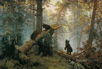 Morning in a Pine Forest bears classical landscape Ivan Ivanovich Oil Paintings