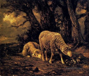 Charles Emile Jacque Painting - Sheep In A Forest animalier Charles Emile Jacque