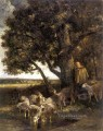 A Shepherdess with Her Flock by a Pool animalier Charles Emile Jacque