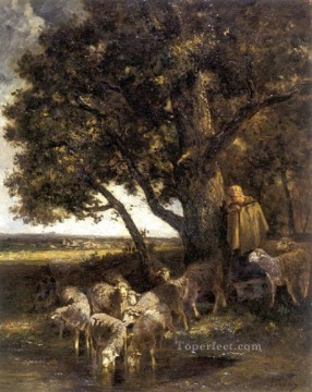 Charles Emile Jacque Painting - A Shepherdess with Her Flock by a Pool animalier Charles Emile Jacque