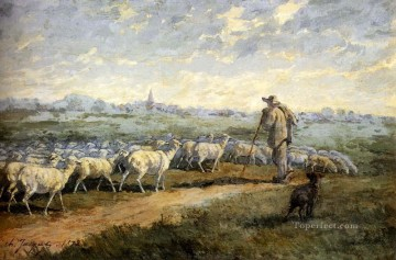 Charles Emile Jacque Painting - Landscape With A Flock Of Sheep animalier Charles Emile Jacque