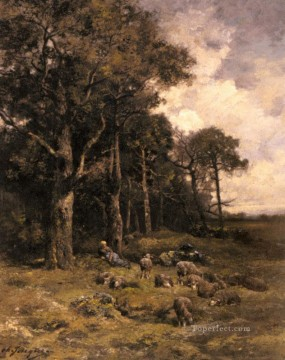 Shepherdess Resting With Her Flock animalier Charles Emile Jacque Oil Paintings