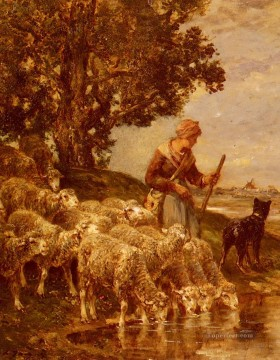 Charles Emile Jacque Painting - A Shepardess Watering Her Flock animalier Charles Emile Jacque