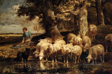 A Shepherdess With Her Flock animalier Charles Emile Jacque Oil Paintings