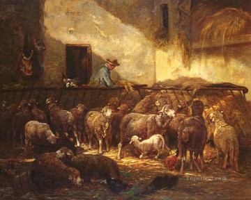 Charles Emile Jacque Painting - French 1813 to 1894A Flock Sheep In A Barn animalier Charles Emile Jacque