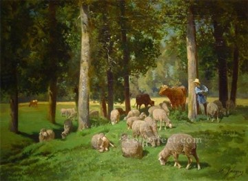 Charles Emile Jacque Painting - Landscape with Sheep animalier Charles Emile Jacque