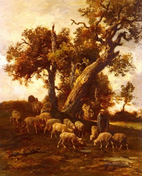 Charles Emile Jacque Painting - Sheep At Pasture animalier Charles Emile Jacque