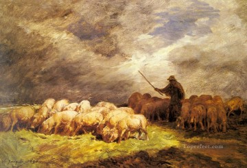 Wine Painting - The Swineherd animalier Charles Emile Jacque