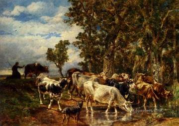 Troupeau De Vaches A L Abreuvoir animalier Charles Emile Jacque Oil Paintings