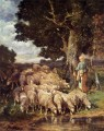 A Shepherdess with her Flock near a Stream animalier Charles Emile Jacque