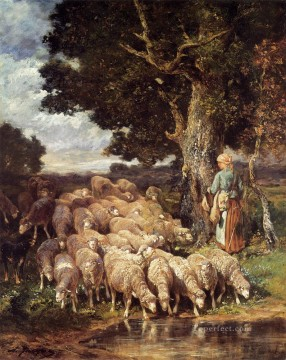 stream Painting - A Shepherdess with her Flock near a Stream animalier Charles Emile Jacque