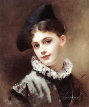 A Coquettish Smile lady portrait Gustave Jean Jacquet Oil Paintings