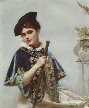 A Portrait of a Noble Lady lady portrait Gustave Jean Jacquet Oil Paintings