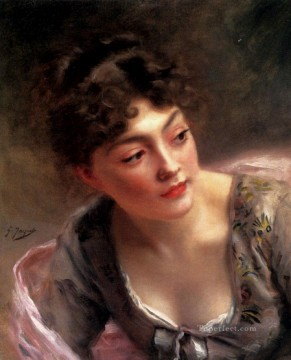 A Quick Glance lady portrait Gustave Jean Jacquet Oil Paintings