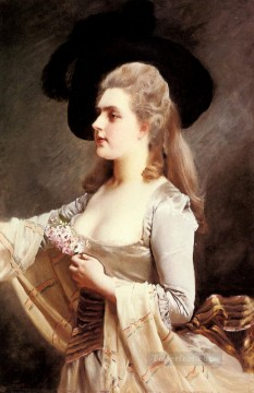 black Art - AN Elegant Lady In A Black Hat lady portrait Gustave Jean Jacquet