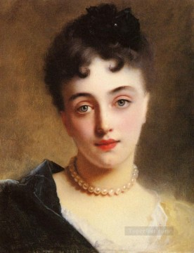 An Elegant Lady With Pearls lady portrait Gustave Jean Jacquet Oil Paintings