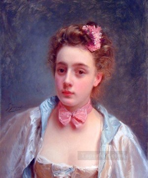 Dressed for the ball lady portrait Gustave Jean Jacquet Oil Paintings
