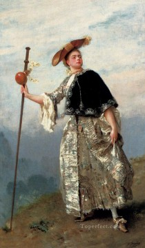 On The Hilltop lady portrait Gustave Jean Jacquet Oil Paintings