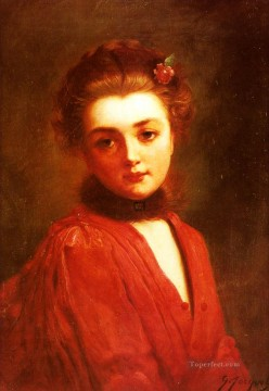 Portrait Of A Girl In A Red Dress lady Gustave Jean Jacquet Oil Paintings