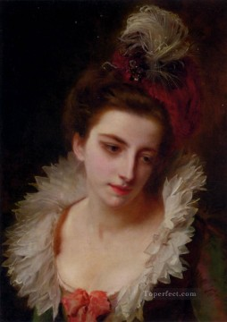 Portrait Of A Lady With A Feathered Hat lady Gustave Jean Jacquet Oil Paintings