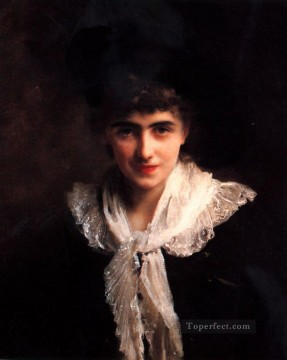 Portrait of a Gentlewoman lady Gustave Jean Jacquet Oil Paintings