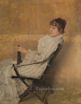 Chair Painting - Lady with fan in Chinese chair Jan van Beers