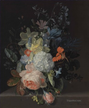 A rose a snowball daffodils irises and other flowers in a glass vase on a stone ledge Jan van Huysum Oil Paintings