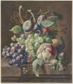 still life of peaches and grapes Blumenbouquet dabei ein toter Vogel Jan van Huysum