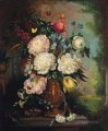 Roses peonies iris tulips carnations convolvulus and stocks in a sculpted vase Jan van Huysum