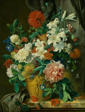 Huysum Works - Stilleven met bloemen fowers in pot Jan van Huysum