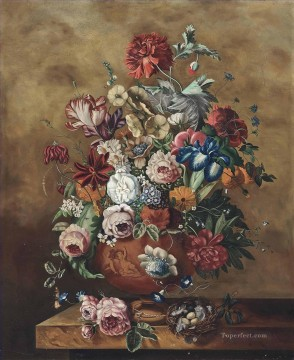 carnations deco art - Roses carnations parrot tulips morning glory and other flowers in a sculpted urn and an egg nest Jan van Huysum