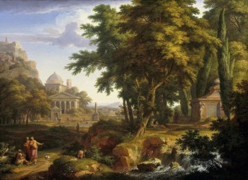 Arcadian landscape with the healing of the crippled man by Saints Peter and John Jan van Huysum Oil Paintings