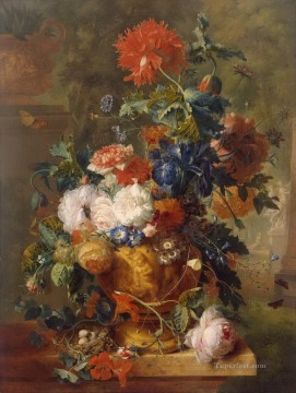 Huysum Works - Flowers with statues Jan van Huysum