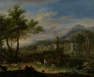 Arcadian Landscape with Fishermen Jan van Huysum Oil Paintings
