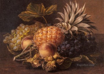 Johan Laurentz Jensen Painting - Grapes a Pineapple Peaches and Hazelnuts In A Basket Johan Laurentz Jensen flower