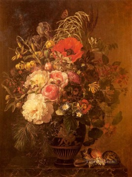 Johan Laurentz Jensen Painting - A Still Life With FlowersIn A Greek Vase flower Johan Laurentz Jensen flower