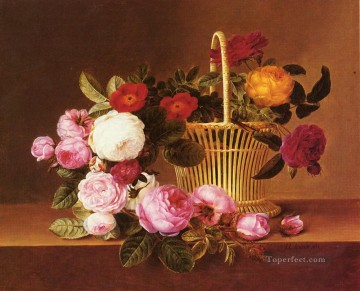 Danish Basket Roses Ledg flower Johan Laurentz Jensen flower Oil Paintings