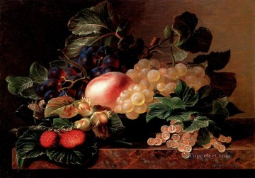 Johan Laurentz Jensen Painting - Grapes Strawberries A Peach Hazelnuts And Berries Johan Laurentz Jensen flower