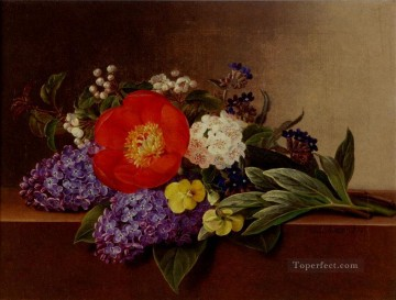 Johan Laurentz Jensen Painting - Lilacs Violets Pansies Hawthorn Cuttings And Peonies On A Marble Ledge flower Johan Laurentz Jensen flower
