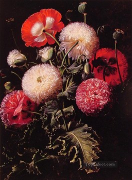 Still Life with Pink Red and White Poppies flower Johan Laurentz Jensen flower Oil Paintings