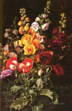 Danish Still Life Hollyhocks flower Johan Laurentz Jensen flower Oil Paintings