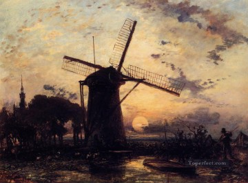 Johan Jongkind Painting - Boatman by a Windmill at Sundown Johan Barthold Jongkind