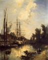 Boats Dockside ship seascape Johan Barthold Jongkind