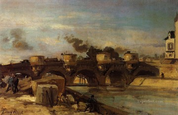 Fire on Pont Neuf Johan Barthold Jongkind Oil Paintings