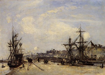 Johan Jongkind Painting - Honfleur the Railroad Dock ship seascape Johan Barthold Jongkind