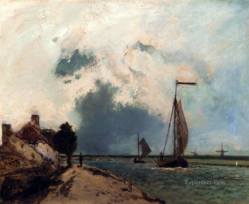 L Arrivee Au Port ship seascape Johan Barthold Jongkind Oil Paintings
