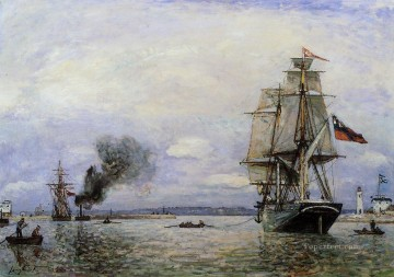 Leaving the Port of Honfleur ship seascape Johan Barthold Jongkind Oil Paintings