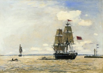 Naval Canvas - Norwegian Naval Ship Leaving the Port of Honfleur ship seascape Johan Barthold Jongkind