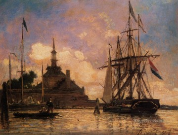 The Port of Rotterdam ship seascape Johan Barthold Jongkind Oil Paintings