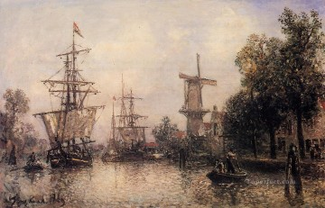 Johan Jongkind Painting - The Port of Rotterdam2 ship seascape Johan Barthold Jongkind